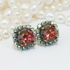 Coral Studs Crystal Peach Pink Post Swarovski Earrings by TIMATIBO