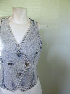 vintage.  80s Acid Washed Denim Vest // S to M by styleforlife, $42.25
