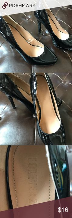 "Black patent heels SZ 7.5 good condition 4"" heels. Gently loved. A few marks which are not noticeable when wearing Forever 21 Shoes Heels"