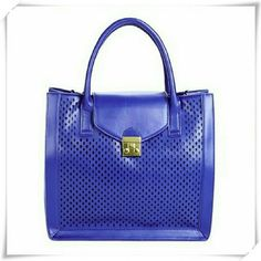 """JustFab bag in cobalt. Structured bag with perforation design in the front. It features dual top handles, a foldover flap with magnetic snap clouser, and adjustable removable shoulder strap. Bright silver tone hardware. One interior pocket, one interior zip pocket. The color is shown most accuratly in 2nd picture.  Details: L 13"""", H 12"""", D 5-1/2"""", faux leather.  Please use only ✔OFFER  button for all price negotiations. I'll do a price drop⤵ for you for discounted shipping, if we agree about…"""