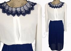 70s Vintage Dress with Lace Collar via Kay Dove Vintage. $34