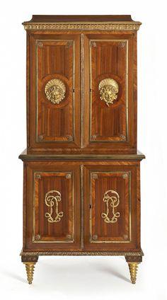Cabinet, Paris, circa 1770-1775 Pierre Garnier, cabinet frame oak veneer satin, ebony, rosewood and amaranth, gilt bronze.