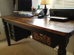 Dining table turned office desk