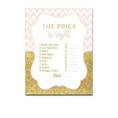 Baby Shower Peach Chevron Gold Glitter - Game The Price is Right - Instant Download Printable