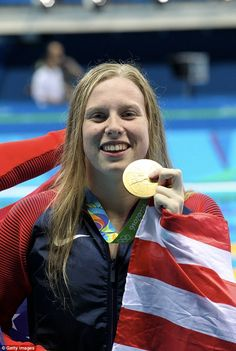 Gold: Lilly King celebrates her gold medal after the final of the women's 100m breaststroke on August 8. Lilly King questioned Justin Gatlin's participation at Rio 2016.