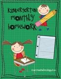 Kindergarten Monthly Homework