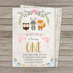 Woodland Invitation  Woodland Birthday Party  by TheYekeStudio