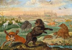 Kraków (section of Europe painting) by Ferdinand van Kessel, 1689 (PD-art/old), Kunsthistorisches Museum, commissioned by Michał Antoni Hacki (1630-1703), Abbot of Oliwa Monastery and given to John III Sobieski