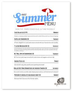 THM Summer Menu- Easy Dinners   Gwen's Nest