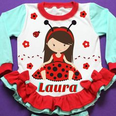 Litlle Lady bug Girl Pajama! Personalized