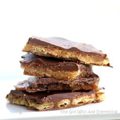 these toffee, chocolate, cracker bars are so easy and delicious! you could always substitute club crackers too! sweet and a little salty!