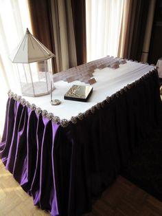 Purple Reception Table Design by WEDS. #reception #entrance #moneybox #wedding #weddingdesign