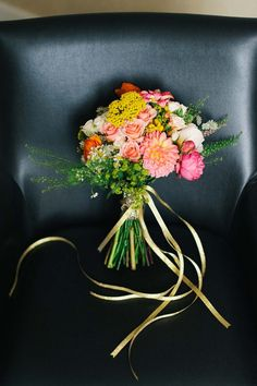 Lovely Hand Tied Wedding Bouquet: Pink▪Green▪Yellow ▪Orange Color Palette