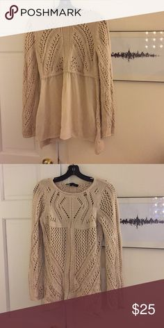 Unique super stylish sweater Unique knit cream sweater. Lower half of back is float chiffon. Super comfy and flattering Sweaters Crew & Scoop Necks