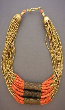 Gold, brass and coral necklace