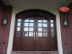6 panel wood entry door with sidelights + transoms+pediment Exterior Doors With Sidelights, Arched Front Door, Double Doors Exterior, Exterior Doors With Glass, Front Doors With Windows, Wood Entry Doors, Wood Exterior Door, Double Front Doors, Arched Doors