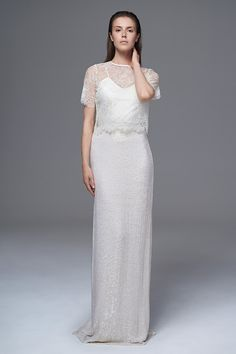 THE ANNABEL FRENCH LACE AND GLITTER BOX TEE STYLED WITH THE CLASSIC IRIS CAMISOLE AND THE CELINE SEQUINNED SKIRT. BRIDAL WEDDING DRESS BY HALFPENNY LONDON.