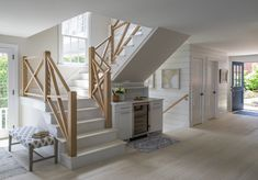 Architecture and Interior Design Firm in Marblehead, MA. Specializing in new construction, renovations, additions, kitchen and bath design. Modern Farmhouse Interiors, Modern Farmhouse Kitchens, Modern Farmhouse Style, Entry Stairs, Kitchen And Bath Design, Staircase Design, Staircase Ideas, Home Living Room, Decoration