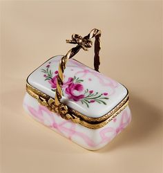 Limoges Pink Roses and Pastel Ribbons Basket Box The Cottage Shop