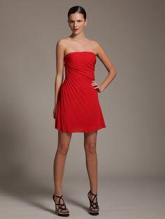 Valentino Pret-a-Porter Silk Pleated Strapless Dress.