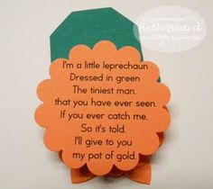 St. Patricks Day, Use this poem as the start of their scavenger hunt :)