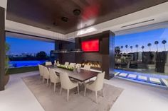 architecture, design, modern home, Whipple Russell Architects, LAUREL WAY Dining Room Fireplace, Cozy Fireplace, Fireplace Ideas, Verre Design, Beverly Hills, Modern Mansion, Dining Room Design, Dining Area, Modern House Design