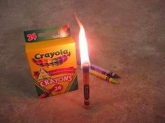 Did you know that a crayon will burn for 30 minutes?  Put a pack in your emergency preparedness kit!