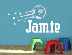 Buy this cool personalised football wall sticker with name and stars. Ideal for any footballers bedroom or playroom. Choose the name/stars and football colours Personalised Football, Personalised Wall Stickers, Name Wall Stickers, Football Wall, Football Stickers, Wall Sticker Design, Beautiful Wall, All Design, Playroom