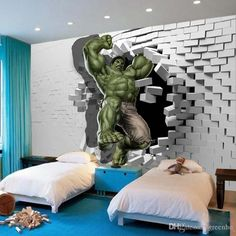 3D Avengers Photo Wallpaper Custom Hulk Wallpaper Unique Design Bricks Wall Mural Art Room Decor Painting Wall art Kid's room Bedroom Home