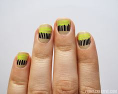 NAILS DID: Nude and Neon Striped Stripes.