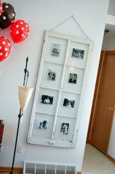 My sister's house - Old window frame from an antique store, used to display old family photos