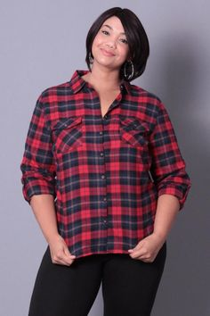Plus Size Plaid Flannel Shirt - Red