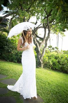 Boho-chic lace wedding gown and lace parasol Wedding by Bliss Wedding Design