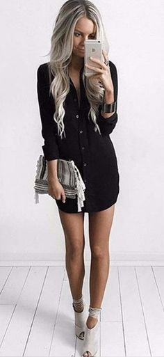 You'll look sexy and relaxed in this Black Casual Dress. This is a really cute mini dress to wear a any day of the week!! See this awesome sexy dress at http://www.cutedresses.co/product/casual-sexy-shirt-mini-dress/