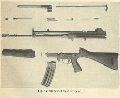 SIG SG 530-1 assault rifle field stripped.