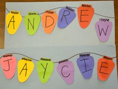 Use lights to make color patterns.  Have children put their names and hang around the class like garland. Oh the possibilities---numbers, letters....