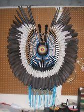 Native American Style Bustle Dyed Eagle Feathers Powwow Regalia Porcupine Roach