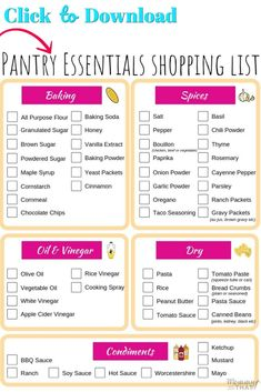 Must Have Pantry Items For Successful Meal Planning - Mommy Can't Afford That - Must have pantry essentials for successful meal planning. Basic pantry staples on a budget. Click t - Monthly Meal Planning, Family Meal Planning, Budget Meal Planning, Cooking On A Budget, Family Meals, Meal Planner, Weekly Meal Plan Family, Planner Layout, Free Planner
