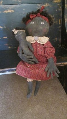 Primitive Black Doll with Her Dolly by Bettesbabies on Etsy, $78.00