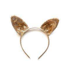 woodstock — gold sparkly rabbit ear headband