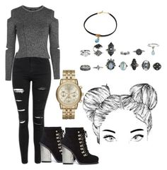 """alice's"" by valerialuevano ❤ liked on Polyvore featuring Topshop, Jeffrey Campbell and Michael Kors"
