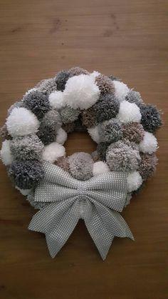 Pom Pom Wreath by CraftycatsGifts on Etsy