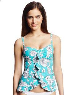 Ocean Avenue Womens Charming Summer Ruffle Front Tankini Top Aqua Small. Check website for more description.