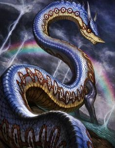Ikuchi- Japanese myth: a giant sea serpent that spills an adhesive oil out from its skin. If a ship comes into contact with one, it would take 3 hours to pass it. It is described as a giant eel that was once a person who drowned and that now wants more to join them.