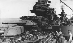 USS Texas refueling at sea from tanker USS Taluga on the 15th March 1945.