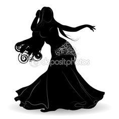 Silhueta de dançarina do ventre em movimento — Ilustração de Stock #113023662