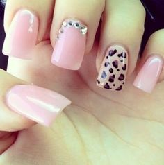 pink & leopard nails art love this!
