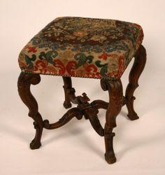French Provincial walnut needlepoint stool