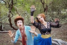 Loriana Ranch, San Luis Obispo Vintage Circus Freak Show Blue Bird inspiration shoot of clowns in a forest (4 of 4)