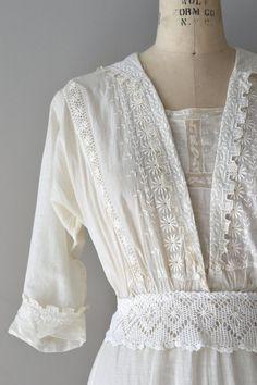 Afternoon Tea dress vintage cotton edwardian dress (detail) by DearGolden